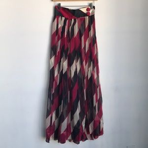 Amazing Vintage Chiffon Print Maxi Skirt